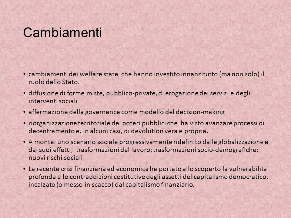 Cambiamenti cambiamenti dei welfare state che hanno investito innanzitutto (ma non solo) il ruolo dello Stato.