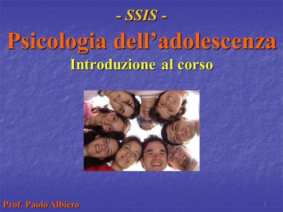 - SSIS - Psicologia dell'adolescenza Introduzione al corso