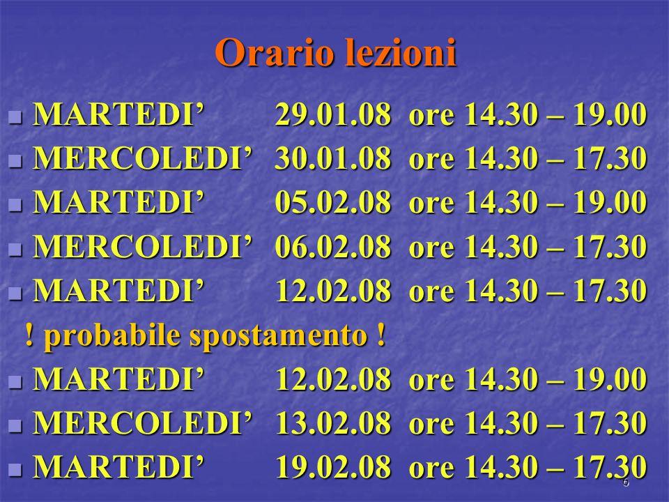 Orario lezioni MARTEDI' 29.01.08 ore 14.30 – 19.00