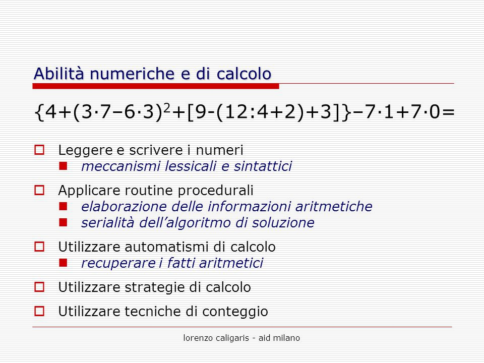 Abilità numeriche e di calcolo