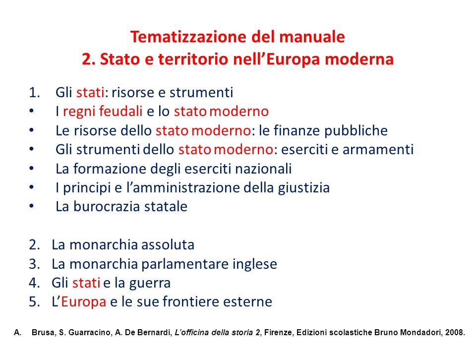 Tematizzazione del manuale 2. Stato e territorio nell'Europa moderna