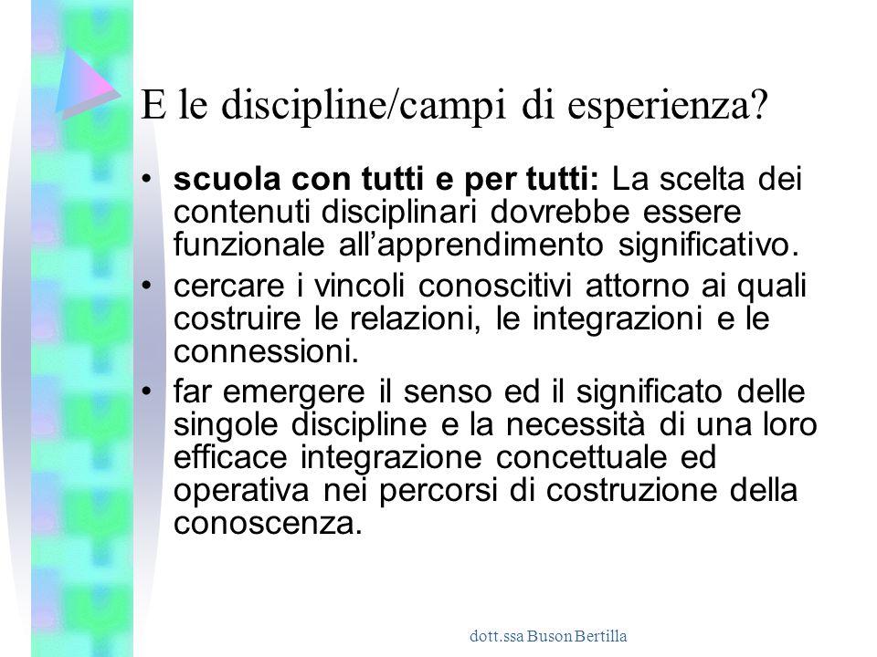 E le discipline/campi di esperienza