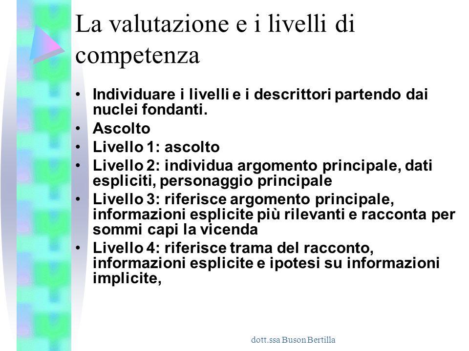 La valutazione e i livelli di competenza