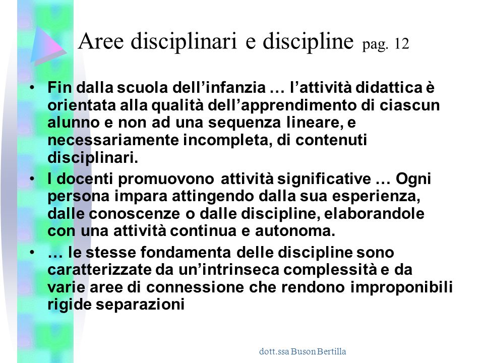 Aree disciplinari e discipline pag. 12