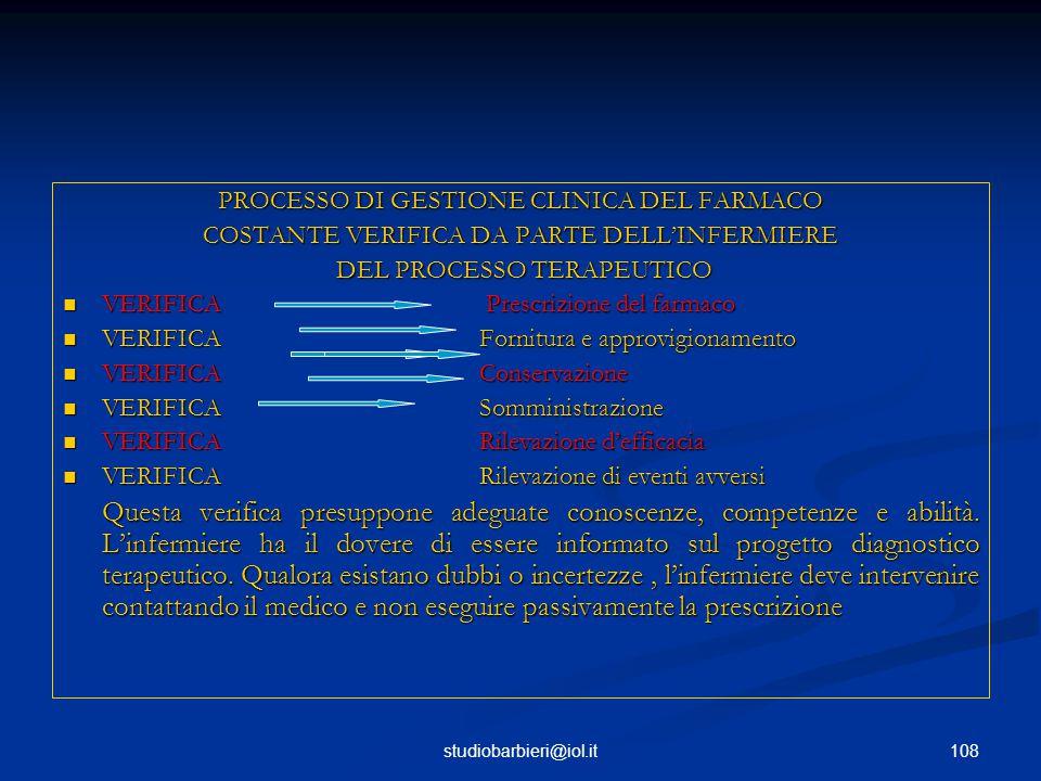 PROCESSO DI GESTIONE CLINICA DEL FARMACO