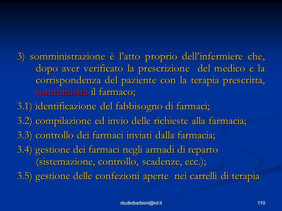 3.1) identificazione del fabbisogno di farmaci;