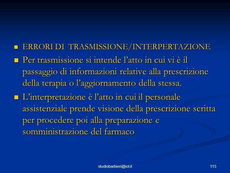 ERRORI DI TRASMISSIONE/INTERPERTAZIONE
