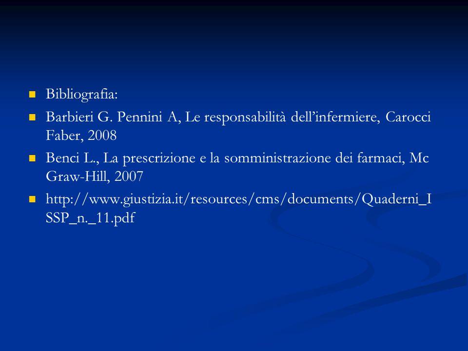 Bibliografia: Barbieri G. Pennini A, Le responsabilità dell'infermiere, Carocci Faber, 2008.