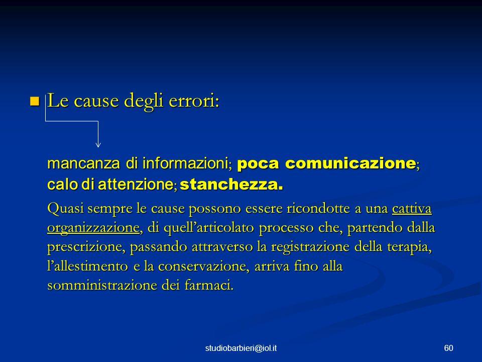Le cause degli errori: mancanza di informazioni; poca comunicazione; calo di attenzione; stanchezza.