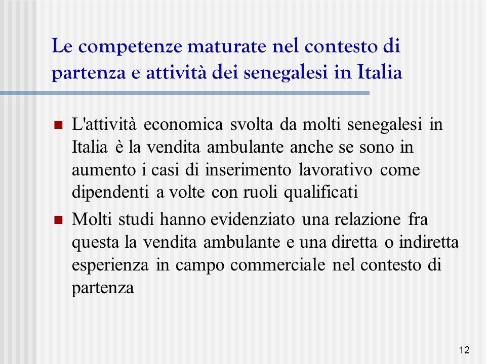 Le competenze maturate nel contesto di partenza e attività dei senegalesi in Italia