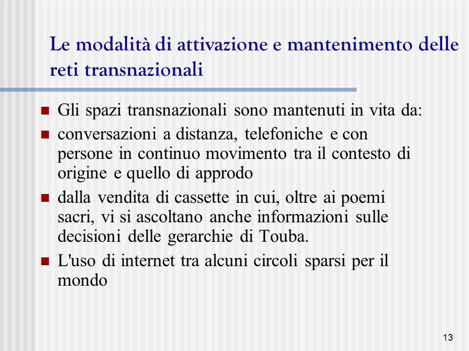 Le modalità di attivazione e mantenimento delle reti transnazionali
