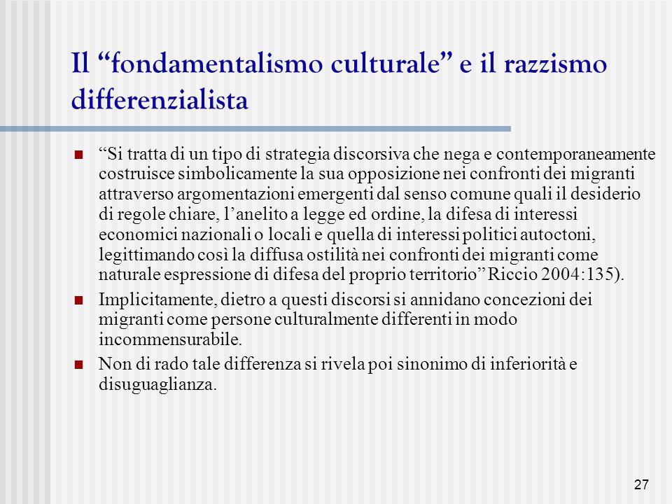 Il fondamentalismo culturale e il razzismo differenzialista