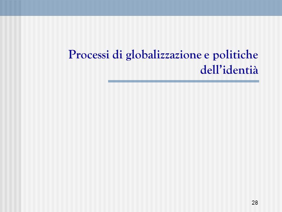 Processi di globalizzazione e politiche dell'identià