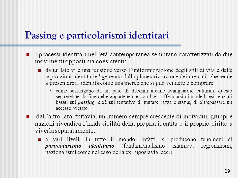 Passing e particolarismi identitari