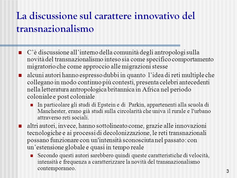 La discussione sul carattere innovativo del transnazionalismo