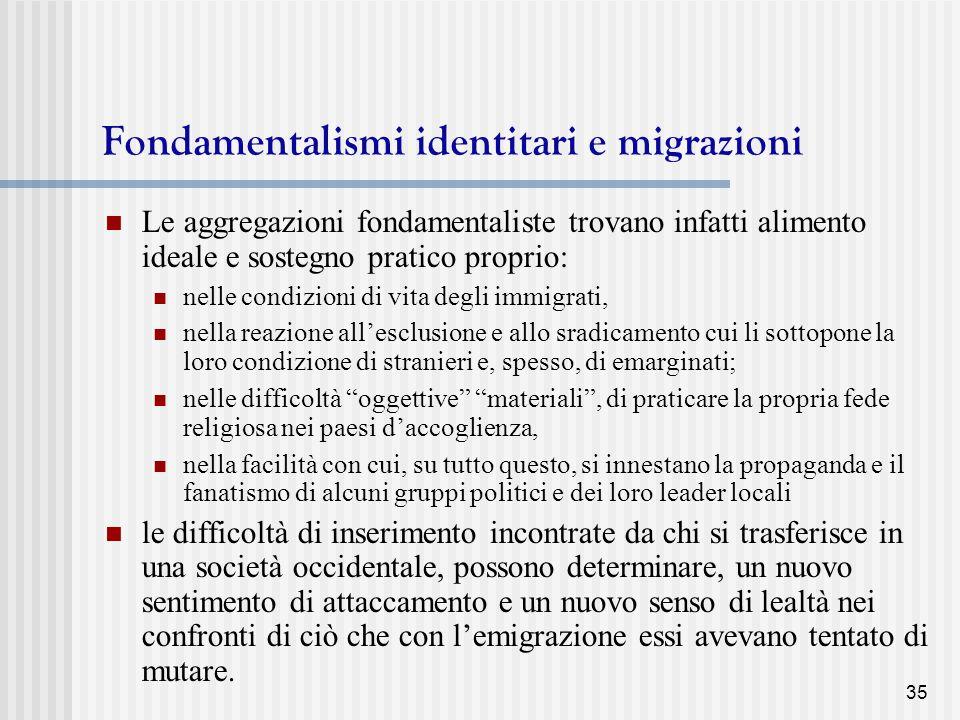 Fondamentalismi identitari e migrazioni