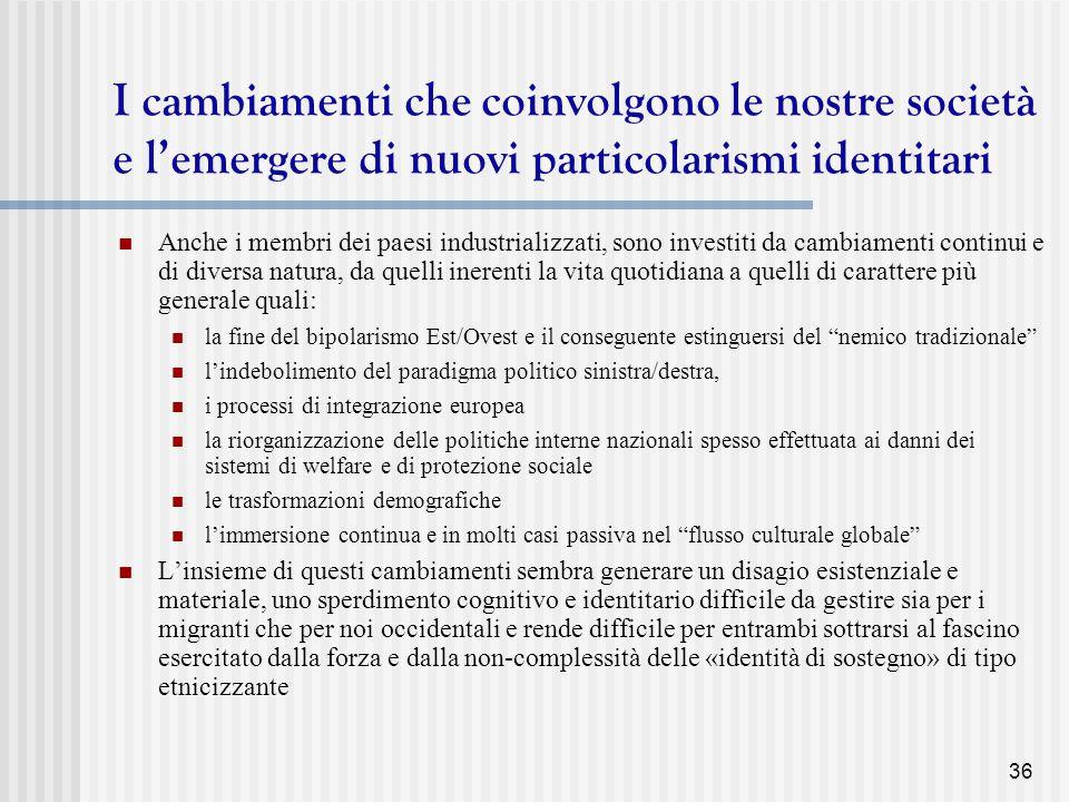 I cambiamenti che coinvolgono le nostre società e l'emergere di nuovi particolarismi identitari