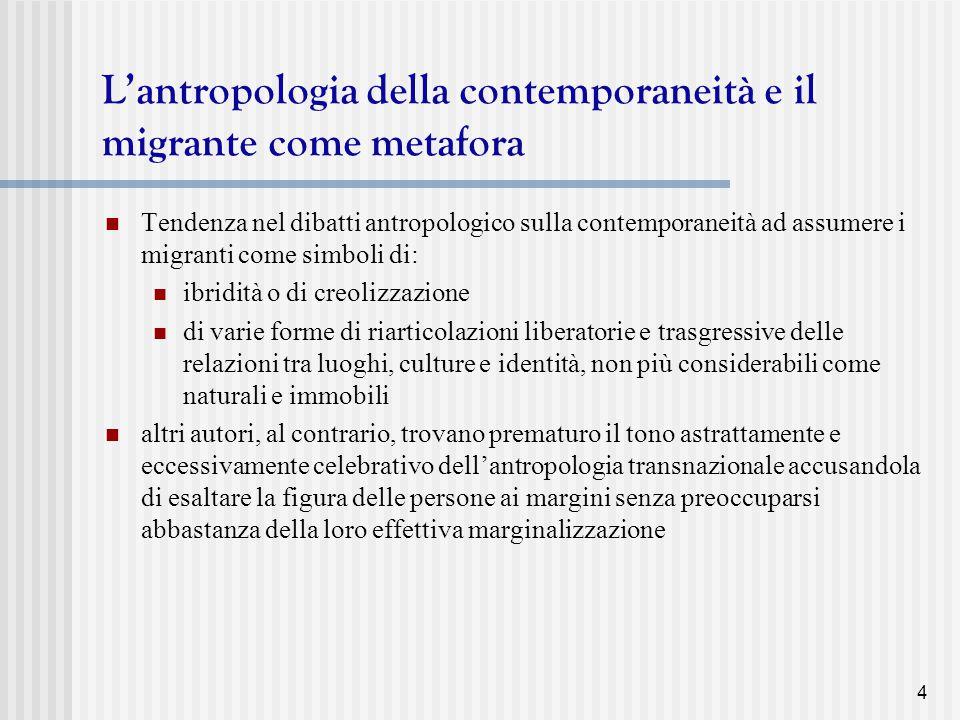 L'antropologia della contemporaneità e il migrante come metafora