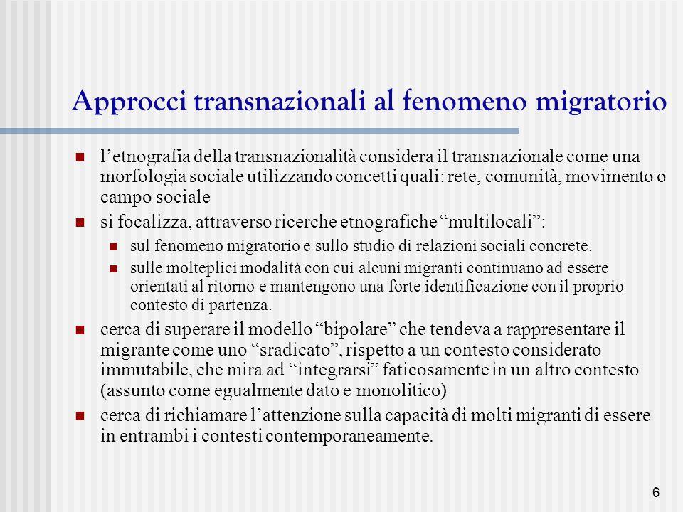 Approcci transnazionali al fenomeno migratorio