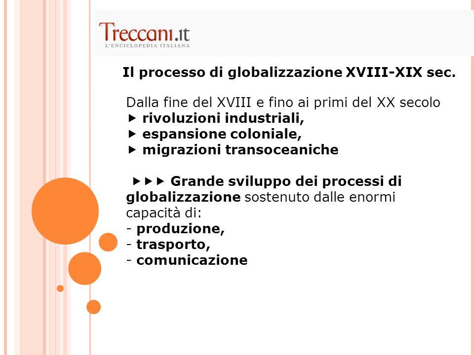 Il processo di globalizzazione XVIII-XIX sec.