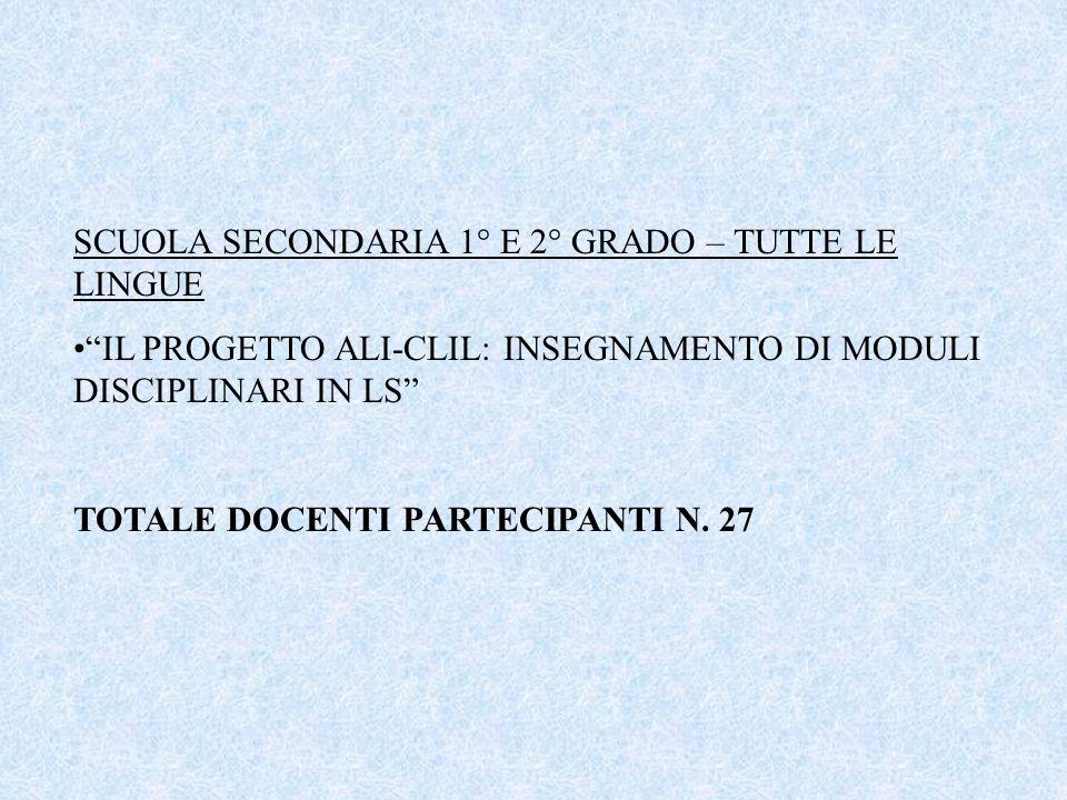 SCUOLA SECONDARIA 1° E 2° GRADO – TUTTE LE LINGUE
