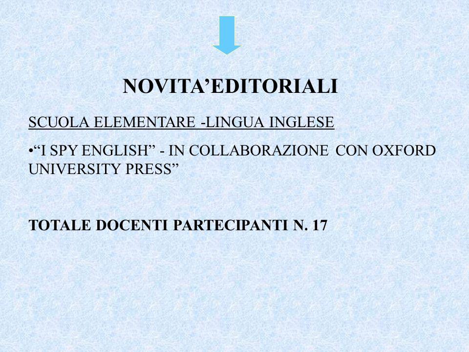 NOVITA'EDITORIALI SCUOLA ELEMENTARE -LINGUA INGLESE