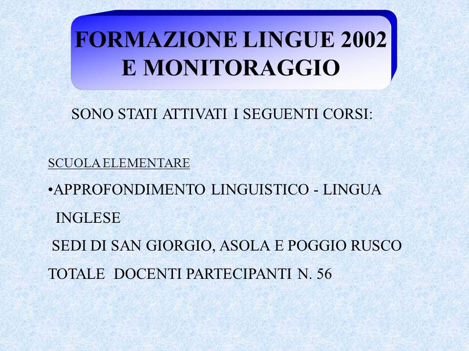 FORMAZIONE LINGUE 2002 E MONITORAGGIO