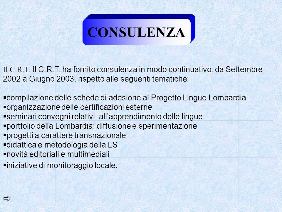 CONSULENZA Il C.R.T. Il C.R.T. ha fornito consulenza in modo continuativo, da Settembre 2002 a Giugno 2003, rispetto alle seguenti tematiche:
