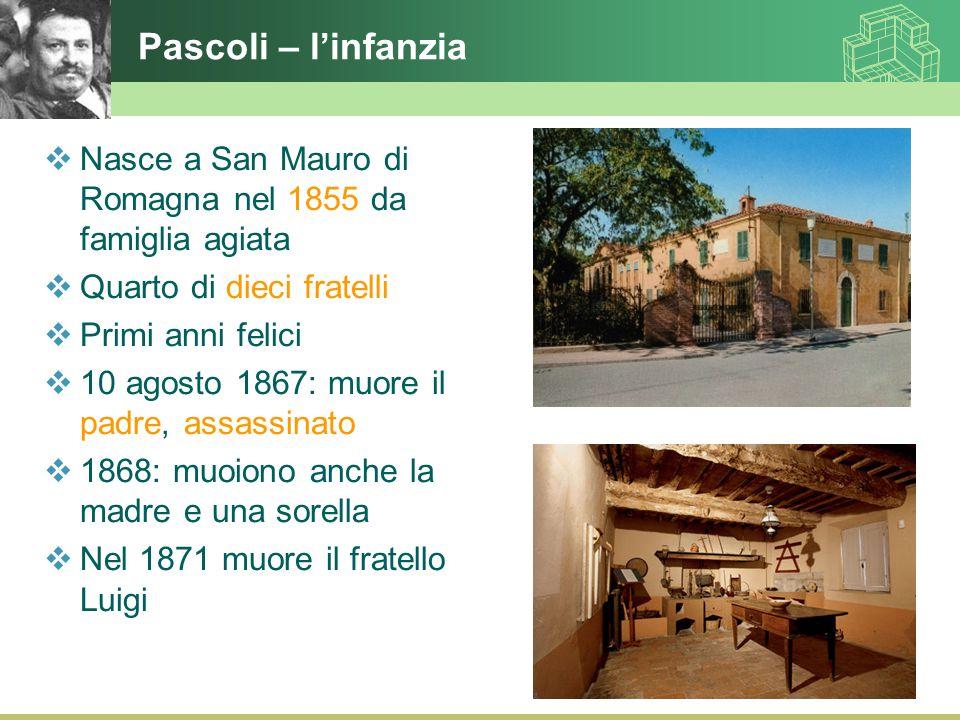 Pascoli – l'infanzia Nasce a San Mauro di Romagna nel 1855 da famiglia agiata. Quarto di dieci fratelli.