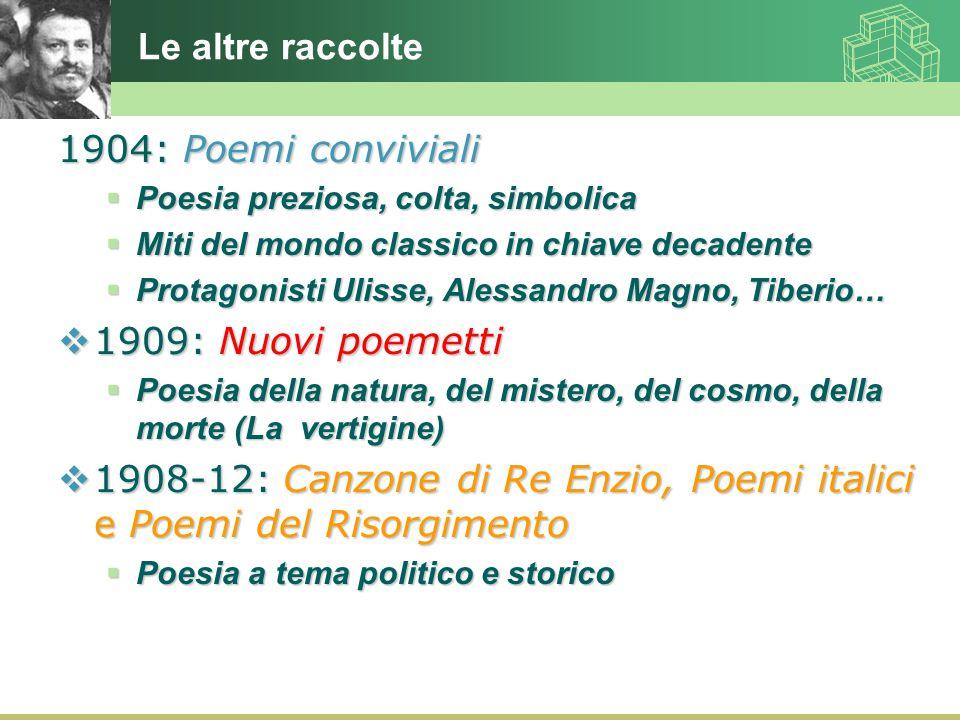 1908-12: Canzone di Re Enzio, Poemi italici e Poemi del Risorgimento