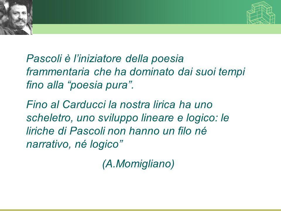 Pascoli è l'iniziatore della poesia frammentaria che ha dominato dai suoi tempi fino alla poesia pura .