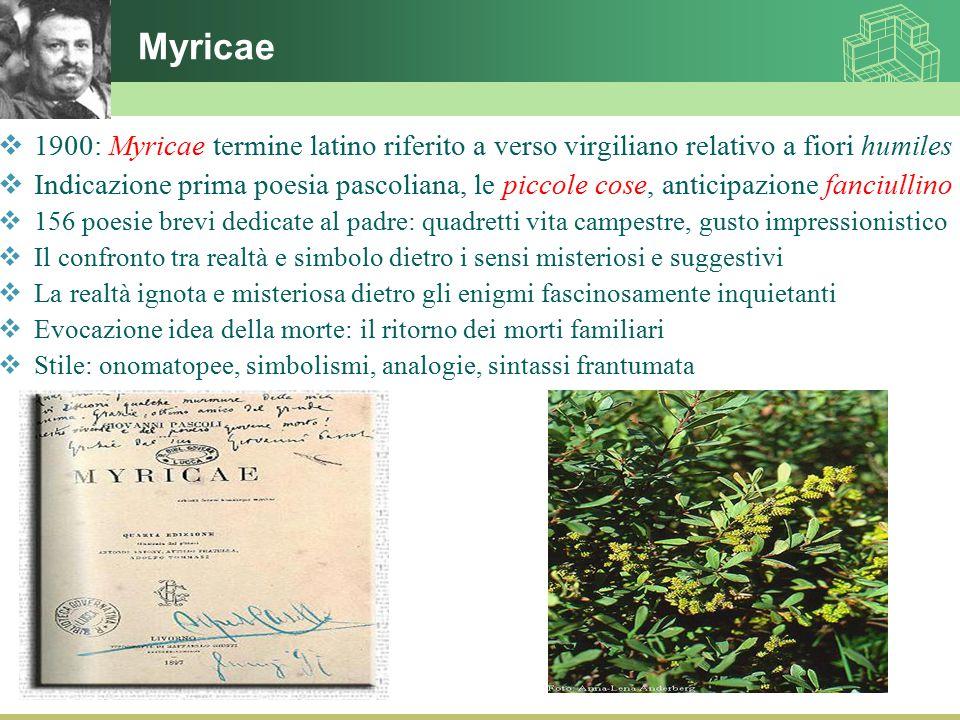Myricae 1900: Myricae termine latino riferito a verso virgiliano relativo a fiori humiles.