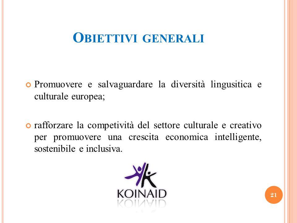 Obiettivi generali Promuovere e salvaguardare la diversità lingusitica e culturale europea;