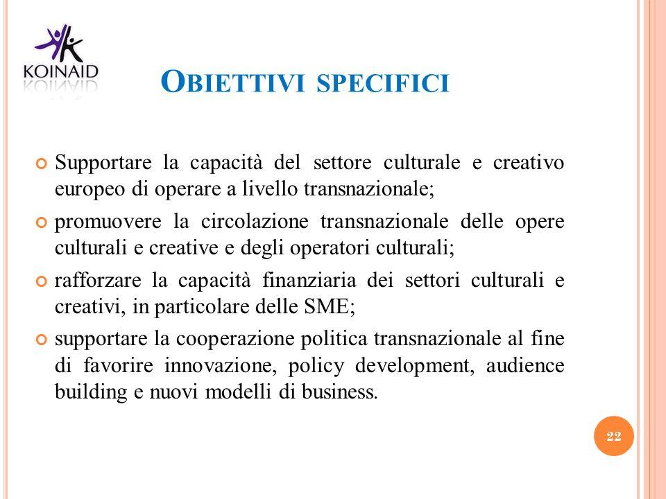 Obiettivi specifici Supportare la capacità del settore culturale e creativo europeo di operare a livello transnazionale;