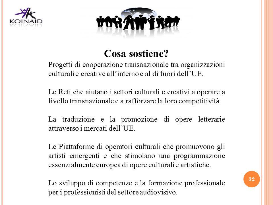 Cosa sostiene Progetti di cooperazione transnazionale tra organizzazioni culturali e creative all'interno e al di fuori dell'UE.