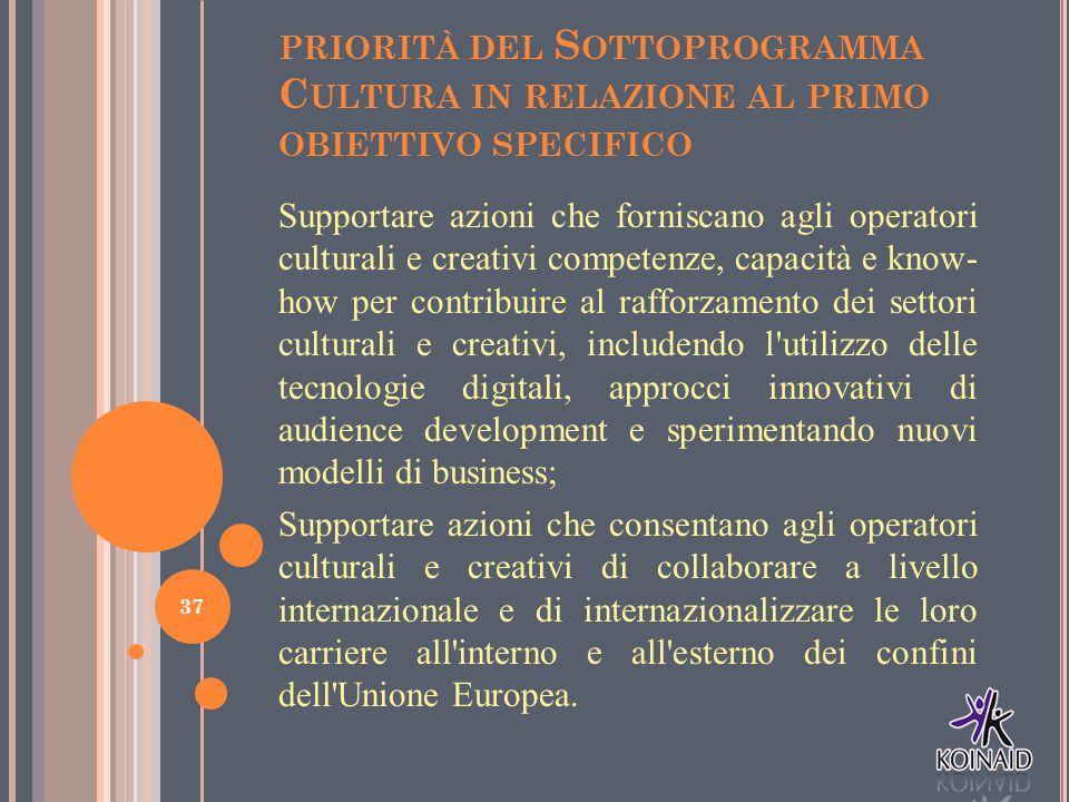 priorità del Sottoprogramma Cultura in relazione al primo obiettivo specifico