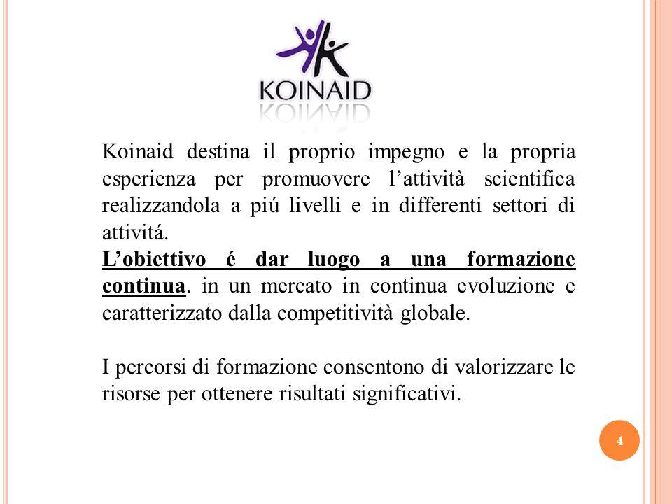 Koinaid destina il proprio impegno e la propria esperienza per promuovere l'attività scientifica realizzandola a piú livelli e in differenti settori di attivitá.