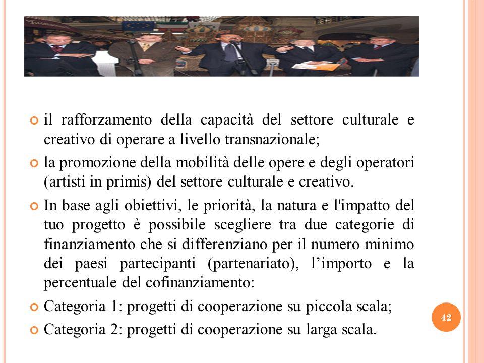 il rafforzamento della capacità del settore culturale e creativo di operare a livello transnazionale;