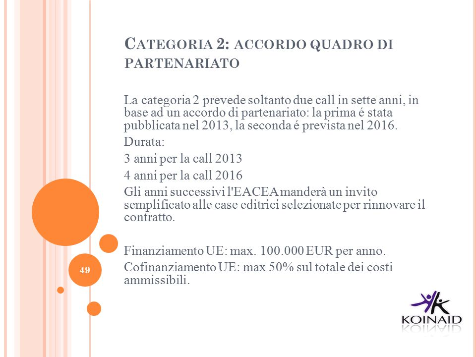 Categoria 2: accordo quadro di partenariato