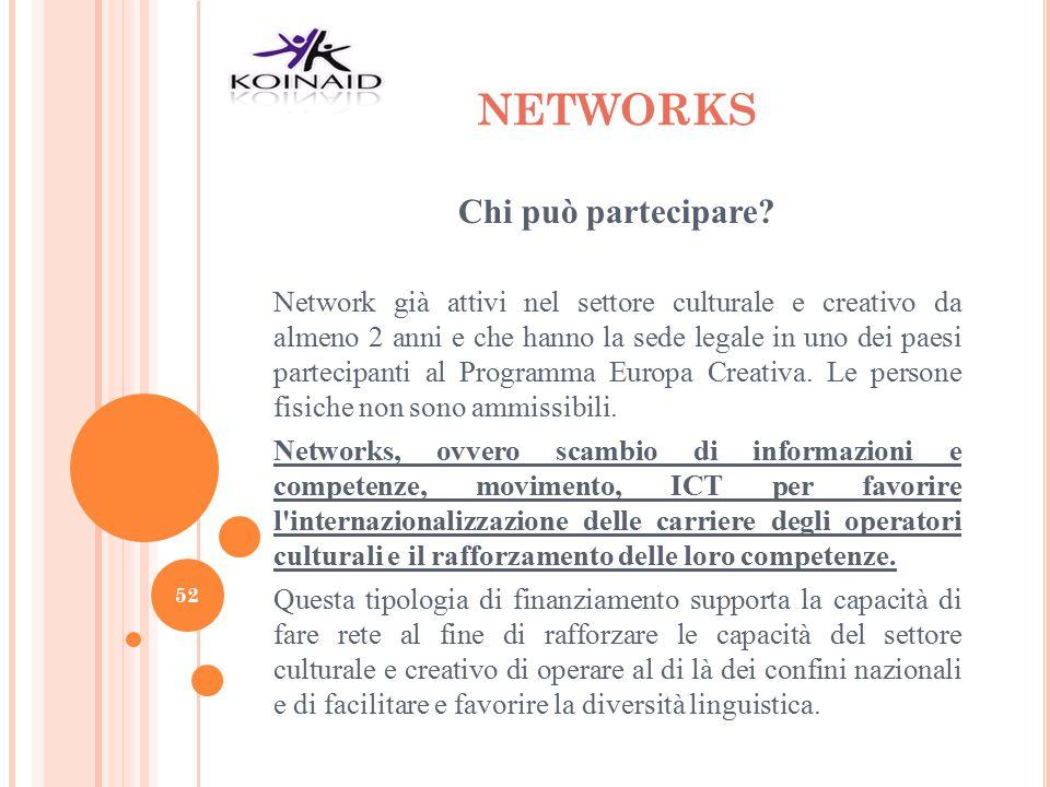NETWORKS Chi può partecipare