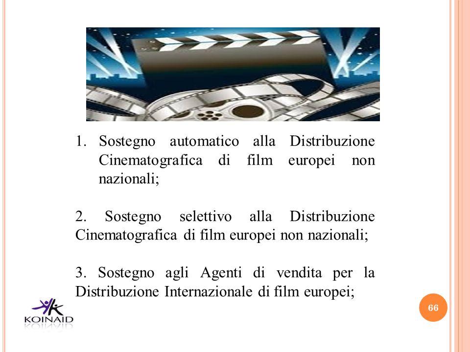 Sostegno automatico alla Distribuzione Cinematografica di film europei non nazionali;