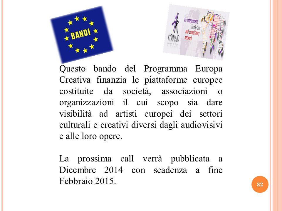 Questo bando del Programma Europa Creativa finanzia le piattaforme europee costituite da società, associazioni o organizzazioni il cui scopo sia dare visibilità ad artisti europei dei settori culturali e creativi diversi dagli audiovisivi e alle loro opere.
