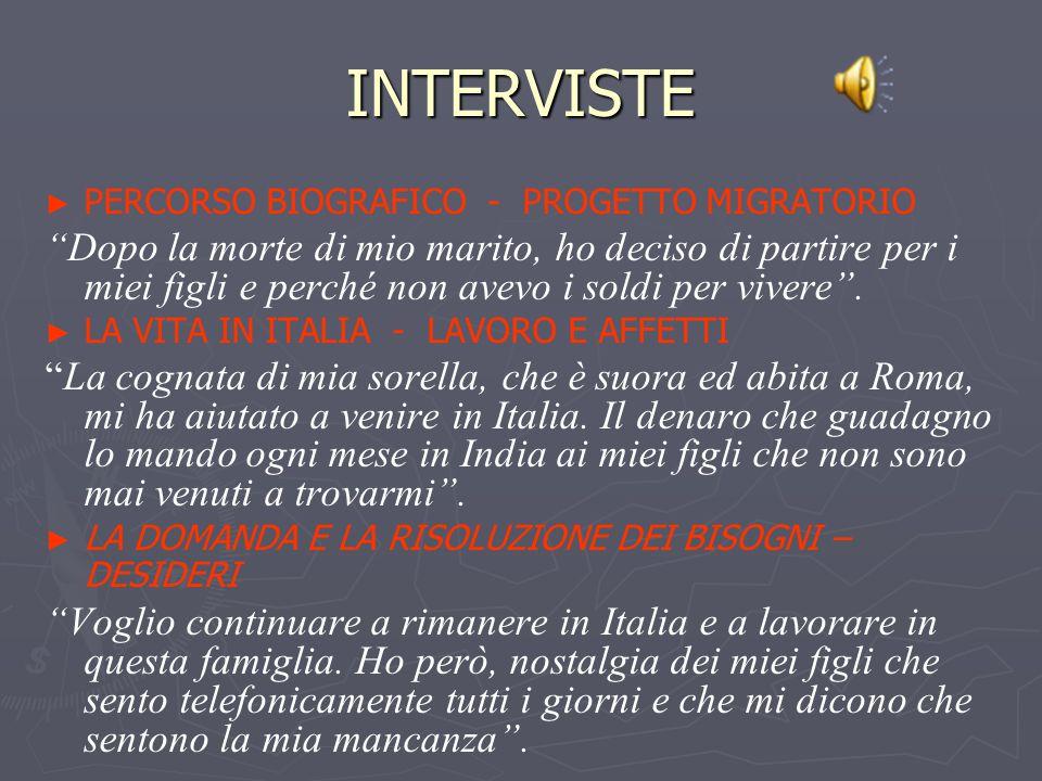 INTERVISTE PERCORSO BIOGRAFICO - PROGETTO MIGRATORIO.