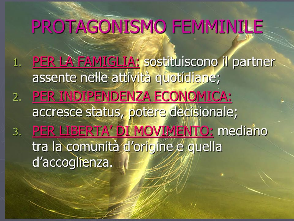 PROTAGONISMO FEMMINILE