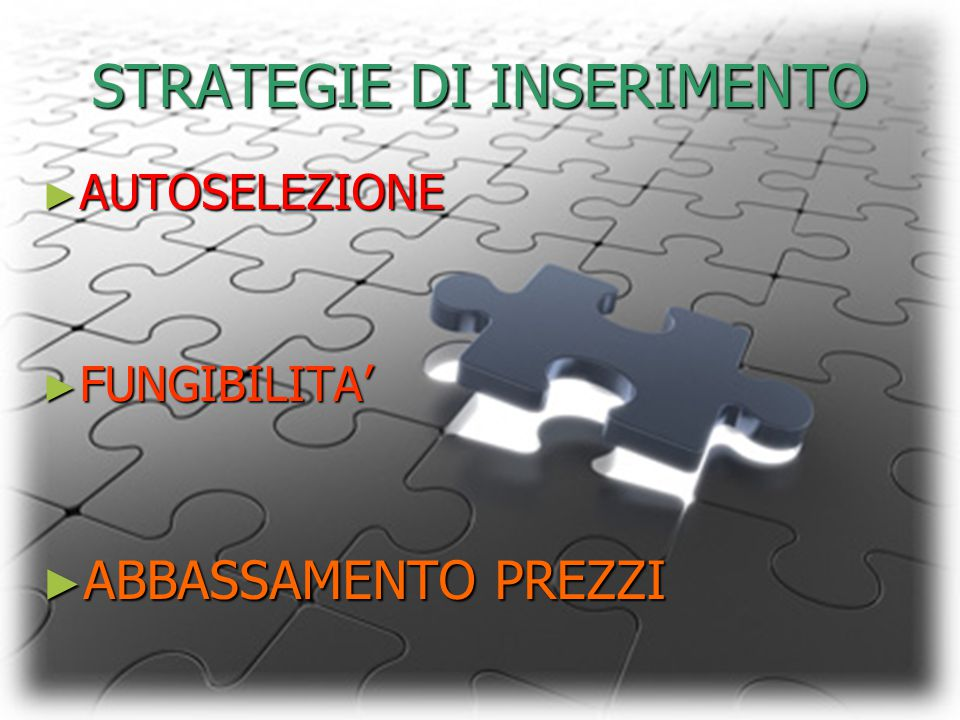STRATEGIE DI INSERIMENTO