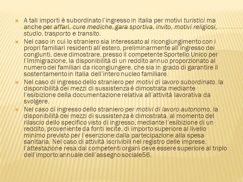 A tali importi è subordinato l'ingresso in Italia per motivi turistici ma anche per affari, cure mediche, gara sportiva, invito, motivi religiosi, studio, trasporto e transito.