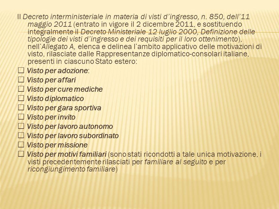 Il Decreto interministeriale in materia di visti d'ingresso, n