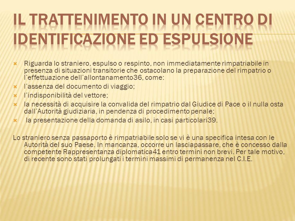 Il trattenimento in un Centro di identificazione ed espulsione