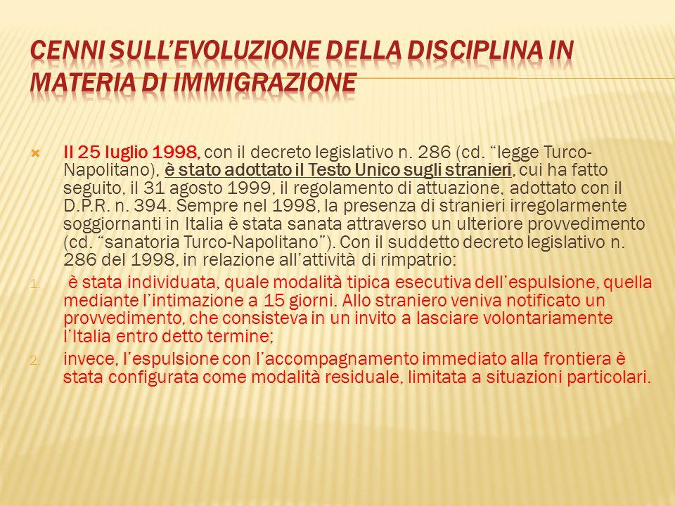 Cenni sull'evoluzione della disciplina in materia di immigrazione