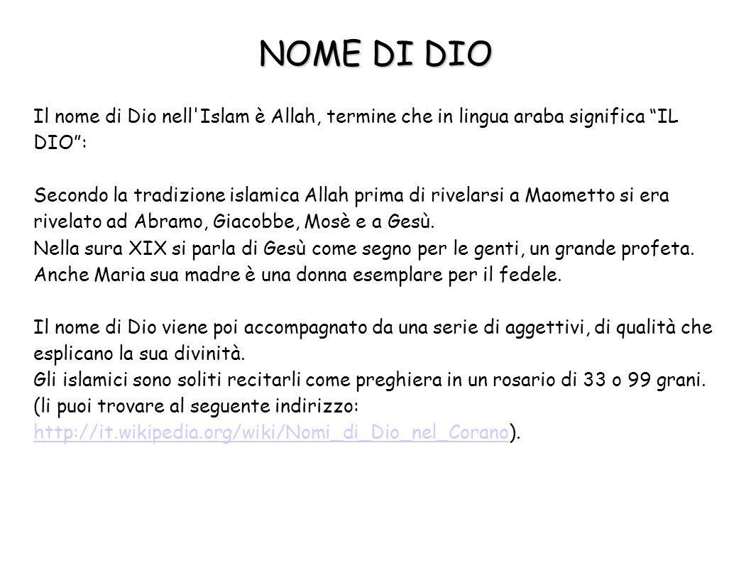 NOME DI DIO Il nome di Dio nell Islam è Allah, termine che in lingua araba significa IL DIO :